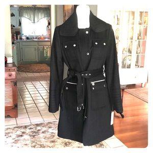 laundry by Shelli Segal LA Black Wool Blend Coat